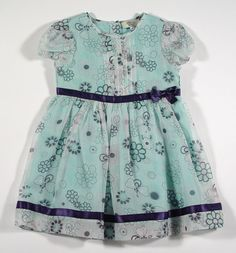 Armani Baby Girls Floral Silk Dress with Ribbon Trim in Teal