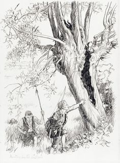 HUNTING BY THE WILLOWS THERE WAS A LARGE HOLLOW WILLOW. THEY RUSHED TO IT by ERNEST HOWARD SHEPARD