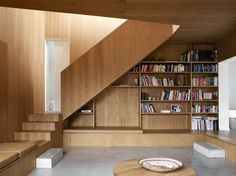 vienna berg architects// Veneer & concrete & matching upholstery