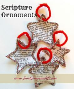 Scripture Ornaments. Use Bible program like ESword or Theophilos to make these and you don't have to make any copies. :) #kids #Christmas #bible #craft #Jesus #Christ #scripture #ornaments