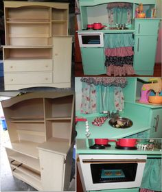 I was inspired by the entertainment centers turned child's play kitchen. I made it reality with the help of my multi-talented husband! We bought this changing table (others use entertainment centers ) on Craigslist and made a kitchen project all DIY sewed curtains, used drawer pulls from Ikea, an old stainless steel mixing bowl for a sink, old bathroom faucet, and such