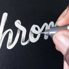 "lovegoodtype: """"Chrome"" WIP by "" Pointillism mixed with Lettering, very interesting… Typography Love, Typography Quotes, Typography Inspiration, Typography Letters, Graphic Design Inspiration, Types Of Lettering, Brush Lettering, Lettering Design, Calligraphy Letters"