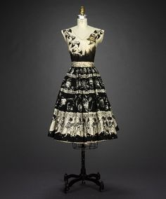 Hand painted & spangled mexican dress from 1950s