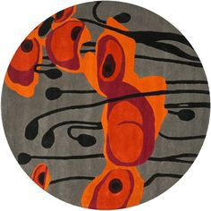 Safavieh Handmade Soho Modern Abstract Grey/ Orange Wool Rug ($173) ❤ liked on Polyvore featuring home, rugs, grey, grey rug, gray wool rug, gray area rug, safavieh rugs and non skid rugs