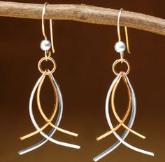 Shopping at Femail Creations - Silver and Gold inter-twine earrings