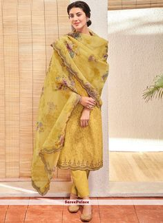 Yellow Jacquard Pant Style Suit 180197 - How To Be Trendy Salwar Designs, Kurta Designs Women, Kurti Designs Party Wear, Pakistani Dresses, Indian Dresses, Indian Outfits, Pakistani Salwar Kameez, Anarkali Dress, Sabyasachi