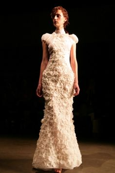 Mercedes Benz Fashion Week Australia 2012 - Bowie's collection emphasised shoulders and fishtails.