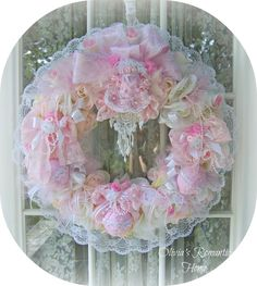 Pink Princess shabby chic wreath from Olivia's Romantic Home - Etsy <3 <3