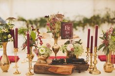 Autumnal flowers in gold vases | Photography by http://www.nickrosephotography.com/