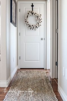I finally upgraded the rug in our hallway… The little brown rug that we had in… Entryway Rug, Hallway Rug, Hallway Runner, Hallways, Entrance Rug, Apartment Entryway, Front Door Rugs, Front Doors, Hallway Decorating