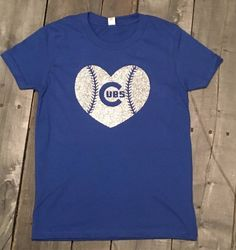 5ef04077b56 Chicago Cubs shirt, baseball heart, girls cubs shirt, Cubs glitter heart  shirt, Chicago, Cubs
