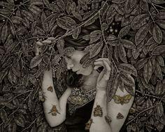 """Echo"", graphite, watercolor, ink on wood - Alessia Iannetti"