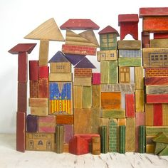Comet Wreckage's shop Glass / Brass / Sass collection of vintage wooden building blocks Wooden Building Blocks, Wooden Blocks, Toy Art, Antique Toys, Vintage Toys, Vintage Cartoon, Material Didático, Wooden Buildings, Wood Toys