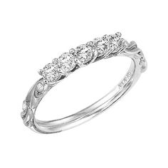 Artcarved Hayley Diamond Engagement Ring with Round Center Featuring Side Diamonds and Satin Finished Floral Carving Detail Highlighted with Diamonds at Total Carat Weight of 0.04 Carats · 31-V100ERW · Ben Garelick Jewelers
