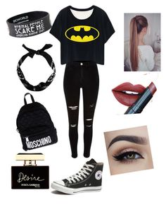 Untitled #23 by bvb-aubrey on Polyvore featuring polyvore fashion style River Island Converse Moschino Fiebiger Dolce&Gabbana clothing