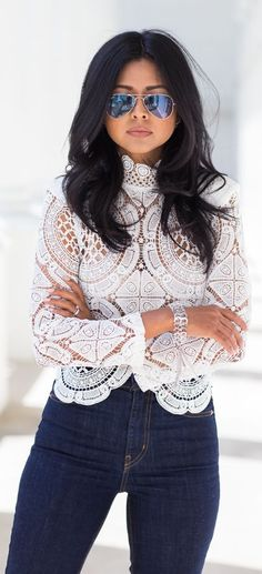 Amazing Lace Turtleneck Outfit Idea by Walk In Wanderland