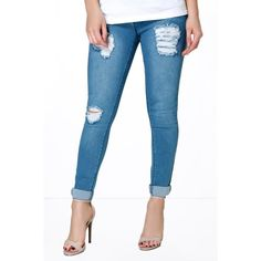 Boohoo Petite Petite Eve Mid Rise Distressed Thigh Skinny Jeans ($35) ❤ liked on Polyvore featuring jeans, dark blue, high waisted skinny jeans, white high-waisted jeans, super skinny jeans, white distressed jeans and slim straight jeans