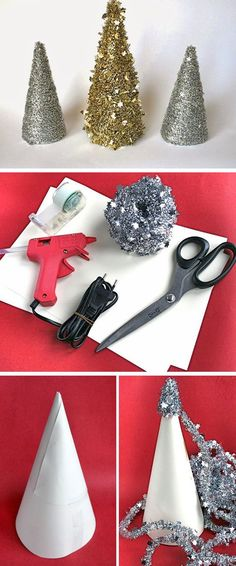 Table Top Tinsel Tree | Click for 30 DIY Christmas Table Centerpiece Ideas | DIY Christmas Table Decoration Ideas
