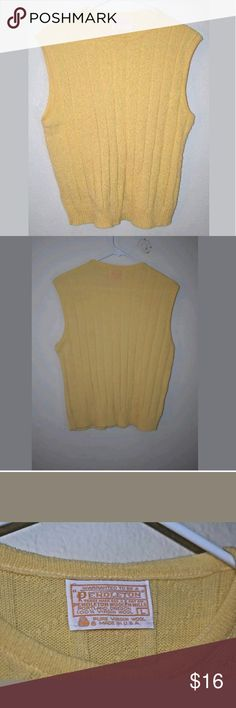 Large pendleton sweater vest virgin wool yellow ea Large pendleton sweater vest virgin wool yellow easter Good used condition. Small hole in the front, please see pictures.  Measurements: Length: 23in Width: 20 in Arm length: N/A  Measurements are taken as follows: length: from the top of the back to the bottom. Width: armpit to armpit. Arm length: from armpit to the bottom of the sleeve. Pendleton Sweaters Crewneck