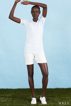 January 5 - Who says HE gets to hog the squash club membership? No. This is your year to make a racket.Grace Bol in a Y-3 top, Clu shorts, and Superga shoesY-3 polo, $145For information: y-3.comClu shorts, $120Head Over Heels, Baton Rouge, LA, 225.216.2002Superga canvas sneaker in white, $65superga.com