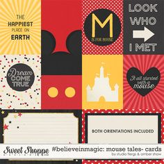 Mickey Mouse inspired digital scrapbooking  #believeinmagic: Mouse Tales Cards by Amber Shaw & Studio Flergs