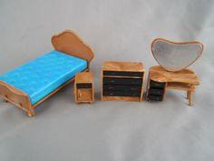 Vintage-Blue-Box-Doll-House-Miniature-Mid-Century-Bedroom-Bed-Desk-Dresser