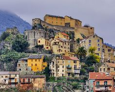 The citadel and the quaint houses of Corte by a winter morning – North Corsica.