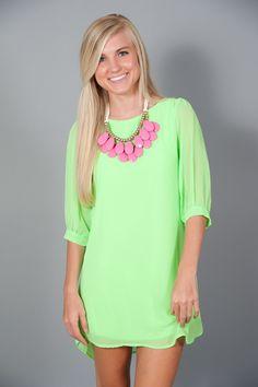 EVERLY: Sea Island Tunic-Neon Green
