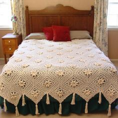 Lace bed cover.