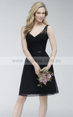 Sleeveless V-neck Zipper Chiffon Knee-length Formal Dresses zsh012