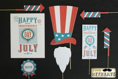 Vintage 4th of July Photobooth Props. Photo Props. Fourth of July Decorations. $34.00, via Etsy.