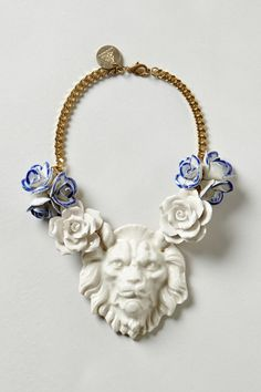 Something different and wonderful. Porcelain Lion and Flower Necklace by Andres Gallardo - Anthropologie.com. $348.00