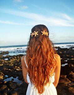 Double Starfish Mermaid Nautical Barrette/Hair Clip Accessories - Wedding Hair. Destination Beach Wedding. Starfish Mermaid Hair Accessory