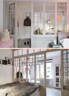 I love interior windows! Interior Windows, Interior Walls, Interior Design, A Frame House, Basement Bedrooms, Extra Rooms, Fabric Decor, House Rooms, Windows And Doors