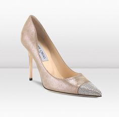 Jimmy Choo - Amika - Sand Shimmer Leather with Crystal Toe Cap