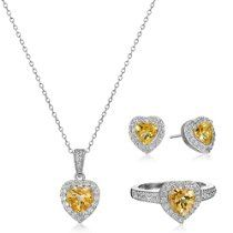Sterling Silver Citrine and White Topaz Halo Heart Earrings, Ring, and Pendant Necklace Jewelry Set