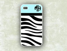 Tiffany blue Iphone 5 case, Iphone 4 case  - Tiger stripe monogram - personalized Iphone 5 cover, Iphone 4s plastic or silicone (9896) on Etsy, $13.99