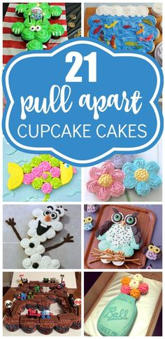 21 Pull Apart Cupcake Cake Ideas - Pretty My Party - Party Ideas - Motivtorten - Cupcakes Pull Apart Cupcake Cake, Pull Apart Cake, Cupcake Torte, Cupcake Cookies, Cupcake Cake Designs, Cute Cupcakes, Birthday Cupcakes, Party Cupcakes, Birthday Parties