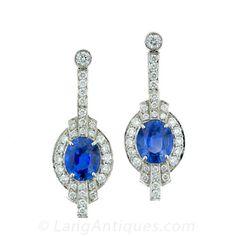 Art Deco Style Platinum, Sapphire and Diamond Earrings