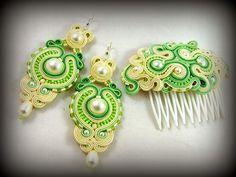 montownia monity hand embroidered jewelry sutasz soutache: ŚLUB W KOLORACH krem i zieleń