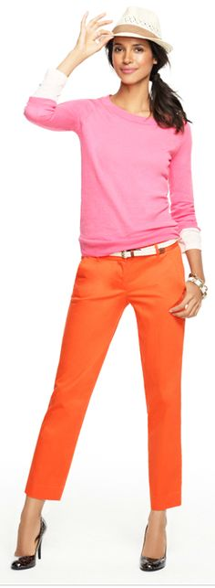 J. Crew ♥ I never realized pink and orange could look so good together.