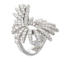 Palmiero Jewelry 18K White Gold Feather-Inspired Loop Contemporary Diamond Ring (=)