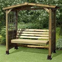 The Poseidon Wooden Garden Swing Seat from the Store More range. This traditional wooden swing seat arbour, with its slatted apex roof, part-trellis sides and swing seat, will create an attractive feature in any garden. The Poseidon's low cost offers amazing value, making it ideal as a gift for family or friends too. Supplied vacuum pressure treated as standard (thus no need to re-treat after self-assembly), this wooden garden swing seat will enjoy a long life due to the rot-resistant…