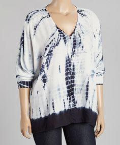 Look at this #zulilyfind! Navy & White Tie-Dye V-Neck Tunic - Plus by Chelsea & Theodore #zulilyfinds