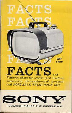 Sonys first Transistor Portable Radios, Retro Advertising, Vintage Advertisements, First Transistor, Portable Tv, Raspberry Pi Projects, Television Set, Sony Tv, Vintage Tv