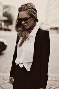 Simple pieces made effortlessly chic. The hair, sunglasses, and the slightly tucked in shirt.