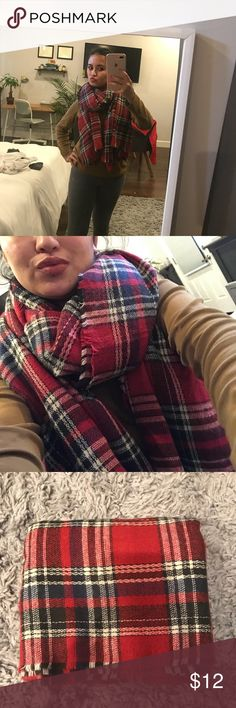 Red Plaid Blanket Scarf! Red Plaid Blanket Scarf! Originally $70 at Therapy (hipster store in Bay Area) Accessories Scarves & Wraps