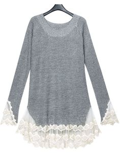 Sewing Idea - Lace; Notice Angles - www.SheInside.com - Shown: Grey Long Sleeve Contrast Lace Pullovers Sweater $62.48 (Cheap! ! !)