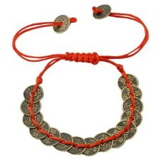 Artificial Chinese Ancient Coins Feng Shui Coin Bracelet ,Good Luck and Wealth Bracelet Hinky Imports. $7.99. Brings Good Luck and Wealth. 100% Handmade. Macrame Closure; One Size Fits All. Made from Red String and Artificial Chinese Coins