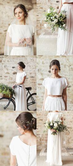 Bridal separates in simple white silk crepe.